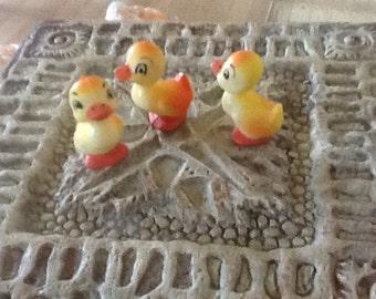 Vintage Wilton baby ducks, for cake or decor, marked on bottom