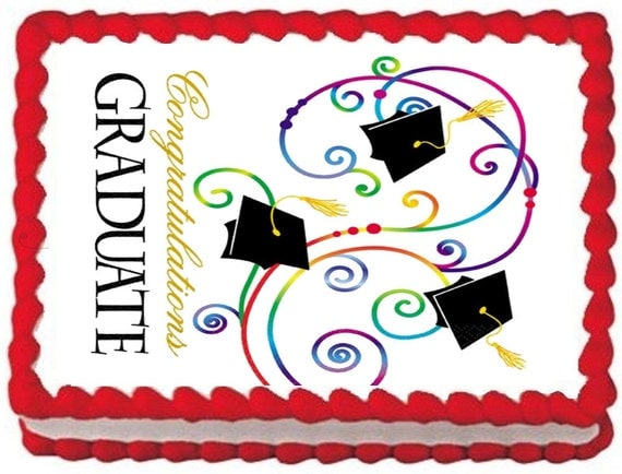 Edible Cake Decorations For Graduation : Graduation Edible Photo Cake Topper