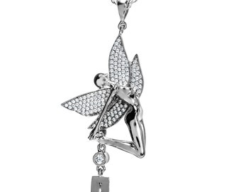 925 Sterling Silver Yoga Fairy Necklace Charm