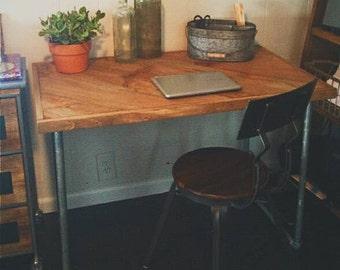 Reclaimed industrial pipe desk