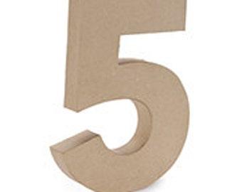 """Paper Mache 12"""" Number """"5"""""""