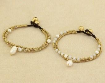 Jingle Bell Bracelet for Women,Mothers Day Gift,Freshwater Pearl Faceted Crystal Beads Bracelet,Double Strand Bracelet,Brass Bracelet,S355