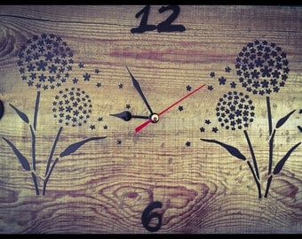 Distress wood finish wall clock with dandelions