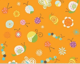 "Riley Blake designs -Deena Rutter  ""Happier Orange""  Bugs   Cotton Fabric   Remnant"