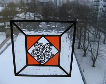 Stained Glass Window Decoration Art Home Gift Orange Glass  Filigree