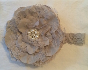 Grey Extra Large 5 Inch Flower Headband - Lace Peony Flower with Pearl or Rhinestone Center on Lace Headband