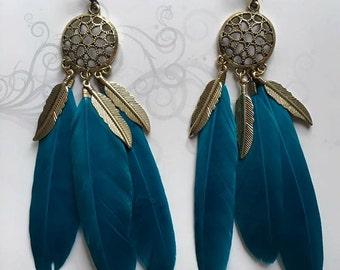 Blue Tribal Stud Earrings, Gold Tribal Earrings for Women, Gold Feather Earrings, Gold Feather Stud Earrings, Tribal Feather Earrings