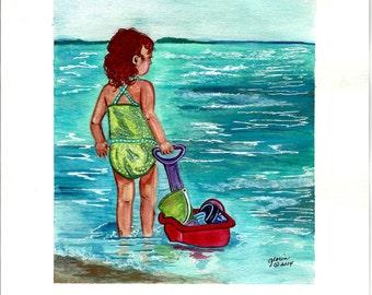 Set of 4 Beach kids prints,having fun at beach,fun in sand,fun in surf,beach toys,