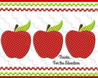 Apples Back to School Fall Faux Smocking Digital Embroidery Machine Design File 4x4 5x7 6x10