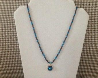 Drop Bermuda Blue Swarovski crystal rhinestone cushion-cut stretch beaded necklace