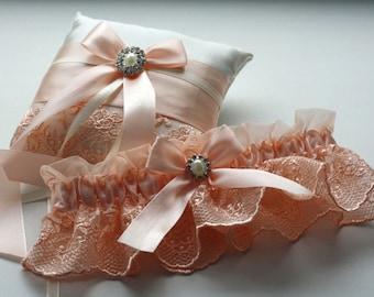 Peach Wedding Pillow Garter Set / Peach Ring Bearer / Apricot ivory ring pillow / Peach Wedding Bridal Garter / Wedding Ceremony Accessories