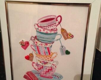 Beautiful Mum button tea cup print