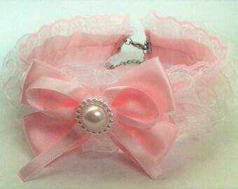 Sweet Lolita Pink & White Lace Choker, Pink Bow. Elegant. Kawaii. Pastel. Cute.