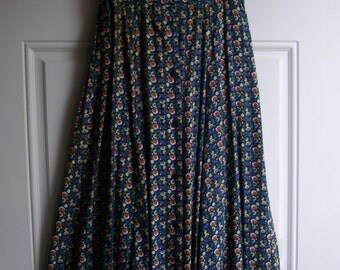 Blue Floral Maxi Skirt by Red Rover, Size Small, Button-down Style