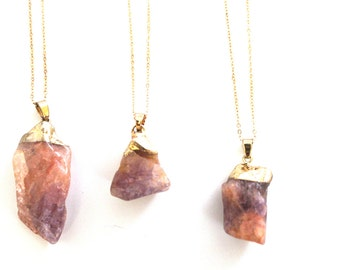 Natural Crystal Gemstone Pendant Necklace Gold Plated Chain