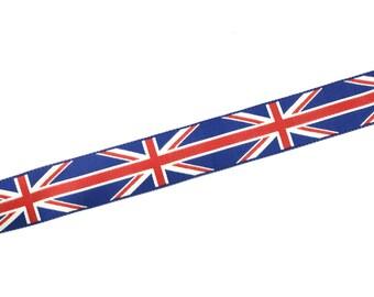 7/8 inch union jack / british flag woven jacquard ribbon - renaissance ribbon (22mm)