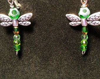 Crystal Silver Dragon Fly Earrings