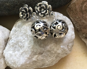 Silver Flower And Round Earrings