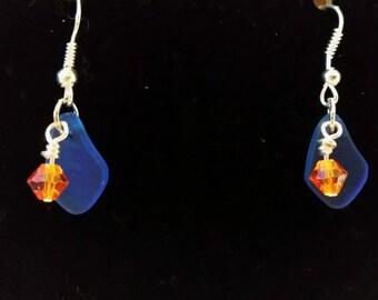 Blue orange sea glass
