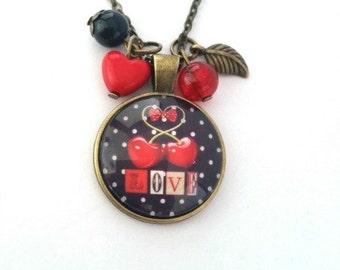 Long necklace - vintage - cherry