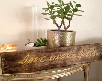 """Yellow Hand Painted """"Love Never Fails"""" Wood Pallet Art//Mother's Day gift//wedding gift//custom colors and lettering//free shipping"""