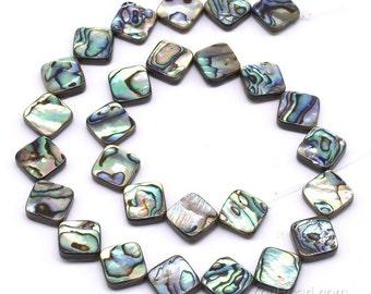 12x12mm dia-square shape paua beads, rainbow abalone shell, paua abalone shell strand, loose shell beads wholesale, ABA1155