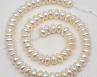 9-10mm white button pearl, Big real pearl beads, cultured freshwater pearl beads, roundel pearl beads strand, large hole available, FB730-WS
