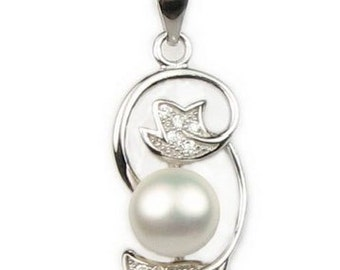 White pearl pendant, sterling 925 silver freshwater pearl necklace, genuine real pearl pendant, bridesmaid pearl pendant, 7-8mm, F2660-WP