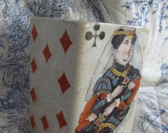 Rare Square Antique French Dijon Mustard Primitive Porcelain Playing Cards Pot, Crock Jar c1800's