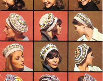 PDF Instant Download Vintage 1960's Knitting Pattern.  Five wonderful fair isle tam o'shanters/berets for the advanced knitter.