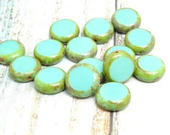 10 x sea foam green czech beads| 10 mm czech glass beads| vintage style beads | czech lentil beads| glass beads