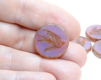 1 x 23mm focal purple czech glass beads| vintage style beads | czech beads| artisan focal bead