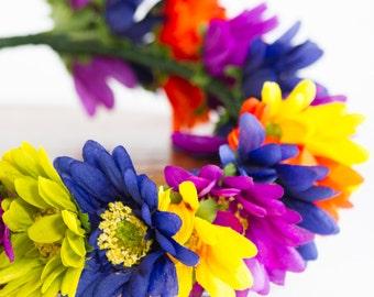 Daisy Chain Flower Crown, Rainbow Flower Crown, Bridal Flower Crown, Floral Festival Crown, Flower Girl Flower Crown, Wedding Flower Crown