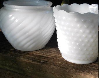 vintage milk glass vases lot of 2 milk glass vases hobnail planter and e o brody swirl pattern planter