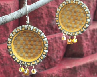 Upcycled bottle cap earrings, yellow and white, Corona Light
