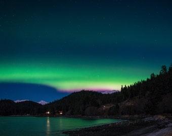 Aurora Borealis Northern Lights Juneau, Alaska 12x18 Photo Print