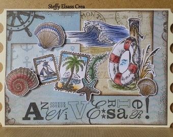 Nautical sailor birthday card sea shells