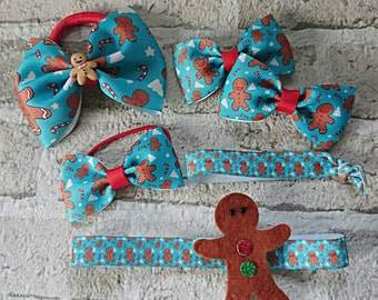 Christmas gingerbread man hair bow bobbles clips hair band accessories gift pack