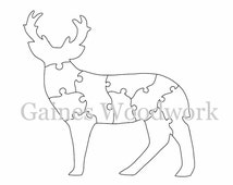 Handmade Scroll Saw Puzzle Template - Digital Download Printable Scroll Saw Pattern - 10 Piece Wooden Deer Puzzle Pattern