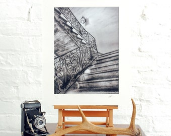 Fine art black and white photographic print of a Spanish staircase limited edition signed 16x12 inches