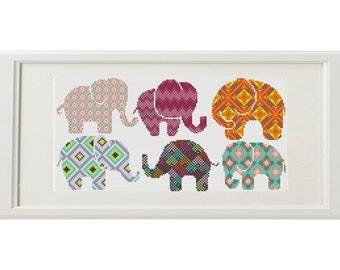 Elephant cross stitch pattern Elephant Set of 6 Geometric cross stitch modern animal cross stitch crossstitch PDF Pattern Threads