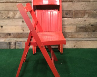 4 x Folding Chairs - Red - 1950s