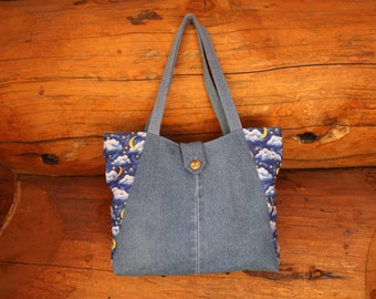 Denim hobo tote bag, moon stars clouds, denim market tote, market bag, denim handbag, jean purse, beach bag, shoulder bag, recycled denim