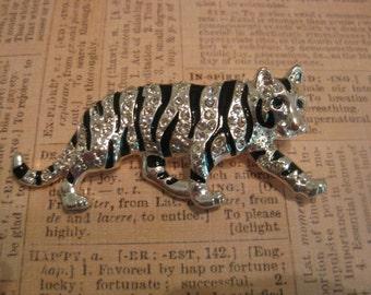 Vintage Brooch, Vintage Jewelry, Tiger Brooch,  Silver Tone Tiger, Black Enamel, Clear Rhinestones