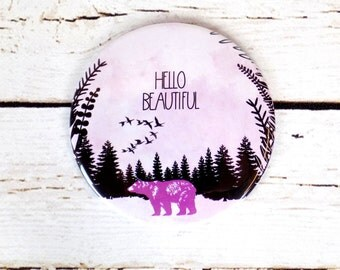 Bear Pocket Mirror Hello Beautiful Handheld Compact Mirror
