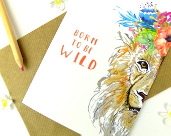 Beautiful Watercolour Boho Floral Lion Blank Greeting Card