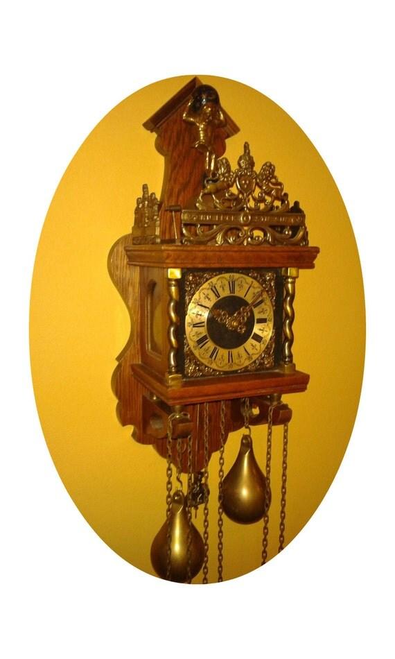 Items Similar To Antique Wall Clock Dutch Chiming Clock