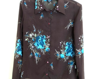 Blouse vintage brown color with flowers