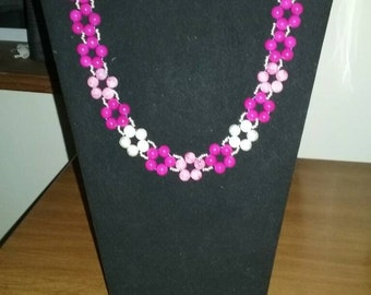 Pink and magenta flower beaded necklace