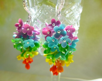 Rainbow Earrings Flowers earrings Lilac earrings Rainbow Flower Jewelry Colorful Earrings Dangle Earrings Floral earrings Rainbow Jewelry